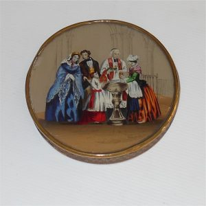 French Dragee Box with Baptism Scene