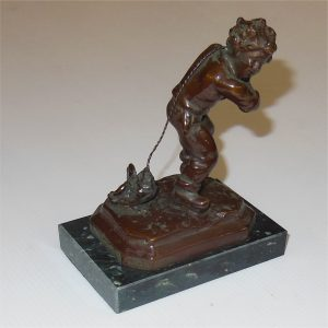 French Bronze Mednat Boy with Chick