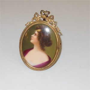 French Framed Porcelain Miniature Portrait Woman