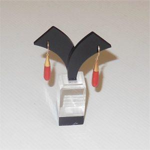 Vintage Coral Drop Earrings 9ct Gold