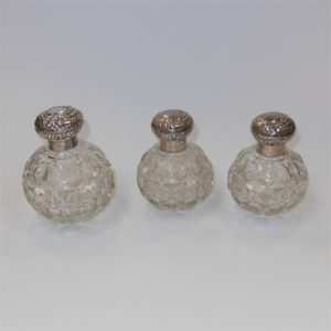 Perfume Bottle Trio Sterling Silver Caps Birmingham 1904