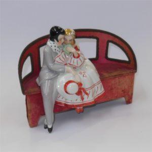 French Art Deco Chocolate Box Ceramic Figures on Seat