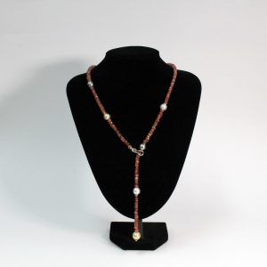 Sunstone and Southsea Pearl Necklace with metal frame