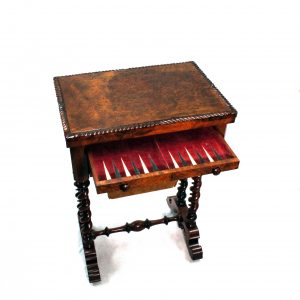 Early Victorian Walnut folding Sewing Games Table