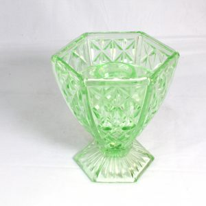 Hexagonal green glass vase with frog