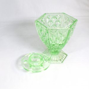 Hexagonal green glass vase with frog