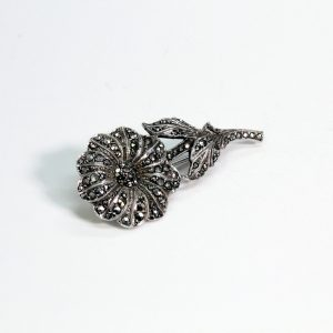 Vintage Marcasite Sterling Silver Brooch