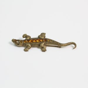 Art Deco Amber paste set Alligator Brooch