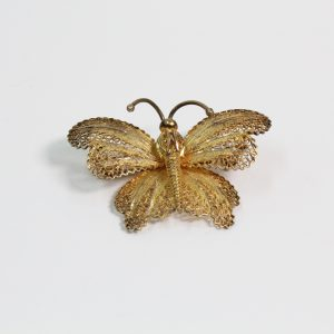 Gilded Sterling Silver Filigree Butterfly Brooch