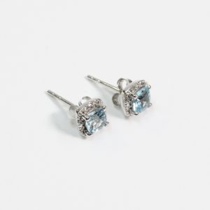 White Gold Diamond and Aquamarine Earrings