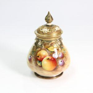 Royal Worstester Signed Fruit-Patterned Pot Pourri