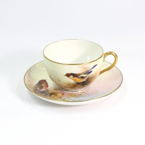 Royal Worcester Cup and Saucer Signed-E.Barker
