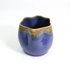 1930s Remued Vase in Duck Egg Blue and Yellow Glaze