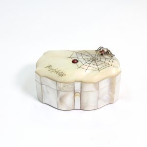 "Mother of Pearl Box with Spider and Web ""Bon Heur"" labelled"