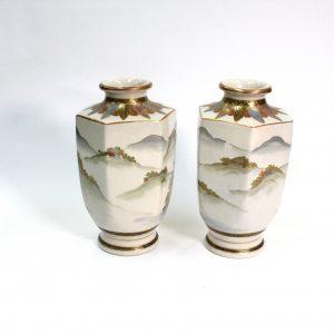 Japanese Satuma Vases pair meiji Period