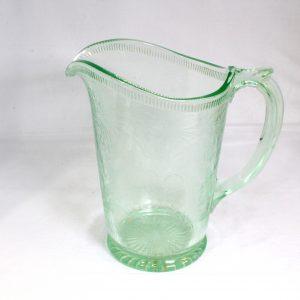 Uranium Glass Jug with fruit pattern design