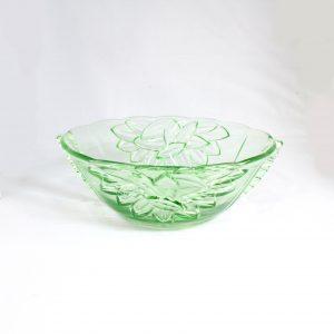 Uranium glass serving fruit bowl