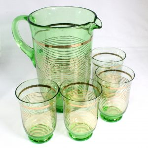 5 Piece Uranium Glass Drink Set