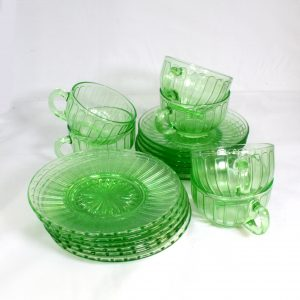 6 Uranium Glass trios/depression glass