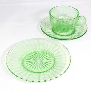 6 Uranium Glass trios/depression glass