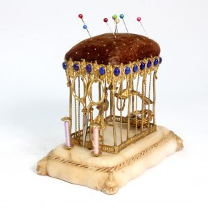 """Palais Royal """"Birds in a cage"""" Sewing Etui with Lapis Cabechon Stones"""