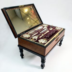 French Piano Sewing Box Mother of Pearl Tools