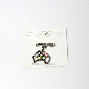 Olympic Badge on Card Melbourne 1956