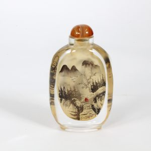 Large Snuff Bottle - Inside Painted Agate Stopper