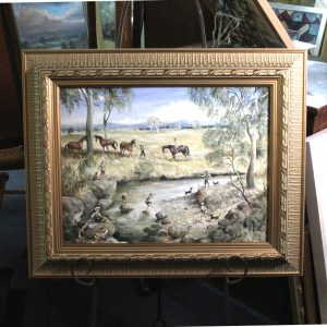 "Australian Pair of Paintings, 1982, ""The stepping stones"" and ""Bend in the Creek"""