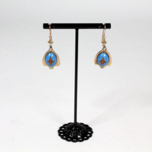 Antique blue enamel and coral earrings