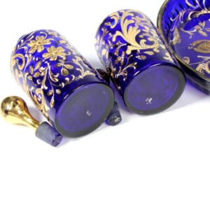 Dressing Table Set Blue Enamelled - perfume bottles