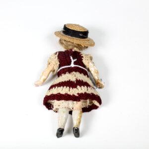 Antique German Doll in hand Crochet Dress
